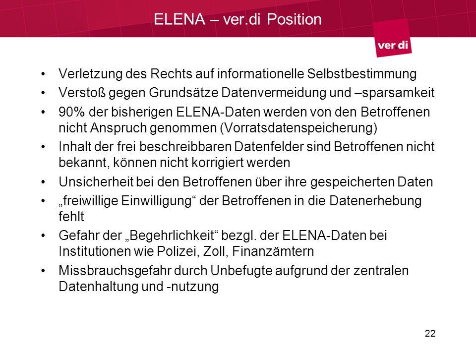 ELENA – ver.di Position Verletzung des Rechts auf informationelle Selbstbestimmung Verstoß gegen Grundsätze Datenvermeidung und –sparsamkeit 90% der bisherigen ELENA-Daten werden von den Betroffenen nicht Anspruch genommen (Vorratsdatenspeicherung) Inhalt der frei beschreibbaren Datenfelder sind Betroffenen nicht bekannt, können nicht korrigiert werden Unsicherheit bei den Betroffenen über ihre gespeicherten Daten freiwillige Einwilligung der Betroffenen in die Datenerhebung fehlt Gefahr der Begehrlichkeit bezgl.