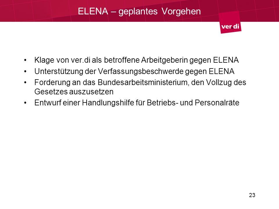 ELENA – geplantes Vorgehen Klage von ver.di als betroffene Arbeitgeberin gegen ELENA Unterstützung der Verfassungsbeschwerde gegen ELENA Forderung an