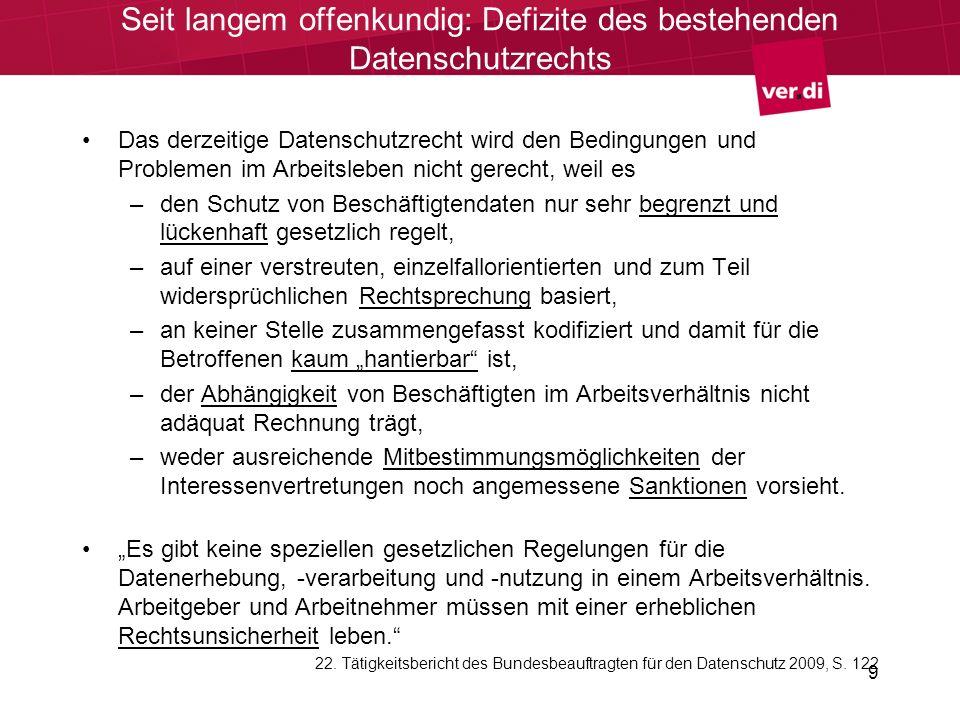 9 Seit langem offenkundig: Defizite des bestehenden Datenschutzrechts Das derzeitige Datenschutzrecht wird den Bedingungen und Problemen im Arbeitsleb