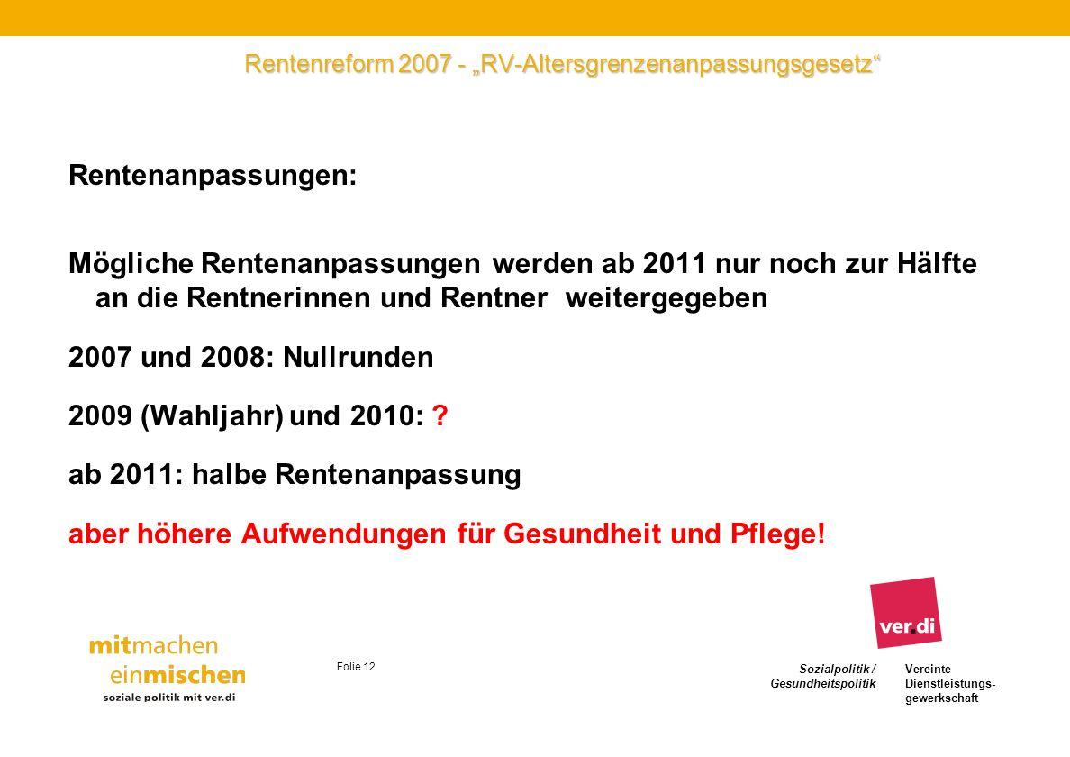 Sozialpolitik / Gesundheitspolitik Vereinte Dienstleistungs- gewerkschaft Folie 12 Rentenreform 2007 - RV-Altersgrenzenanpassungsgesetz Rentenanpassun