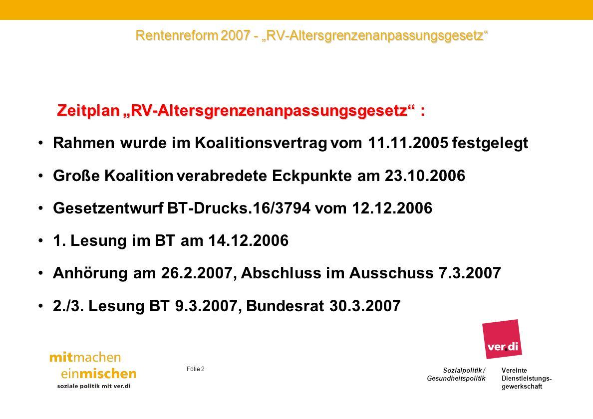 Sozialpolitik / Gesundheitspolitik Vereinte Dienstleistungs- gewerkschaft Folie 2 Rentenreform 2007 - RV-Altersgrenzenanpassungsgesetz Zeitplan RV-Alt