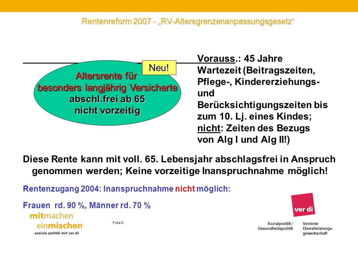 Sozialpolitik / Gesundheitspolitik Vereinte Dienstleistungs- gewerkschaft Folie 8 Rentenreform 2007 - RV-Altersgrenzenanpassungsgesetz Vorauss.: 45 Ja