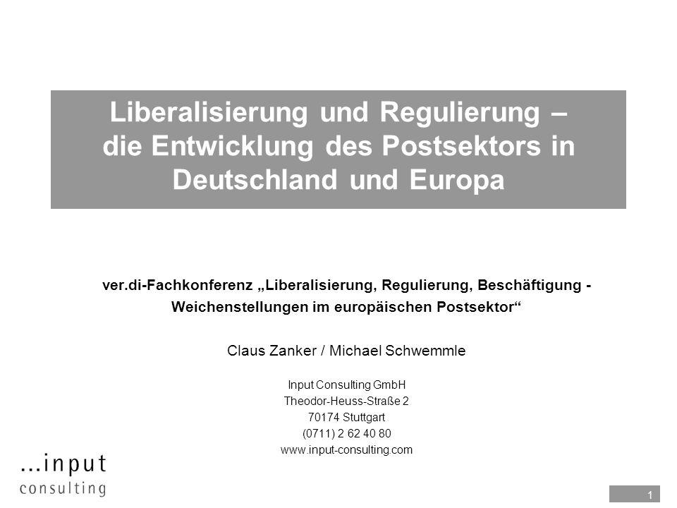 1 Liberalisierung und Regulierung – die Entwicklung des Postsektors in Deutschland und Europa ver.di-Fachkonferenz Liberalisierung, Regulierung, Besch