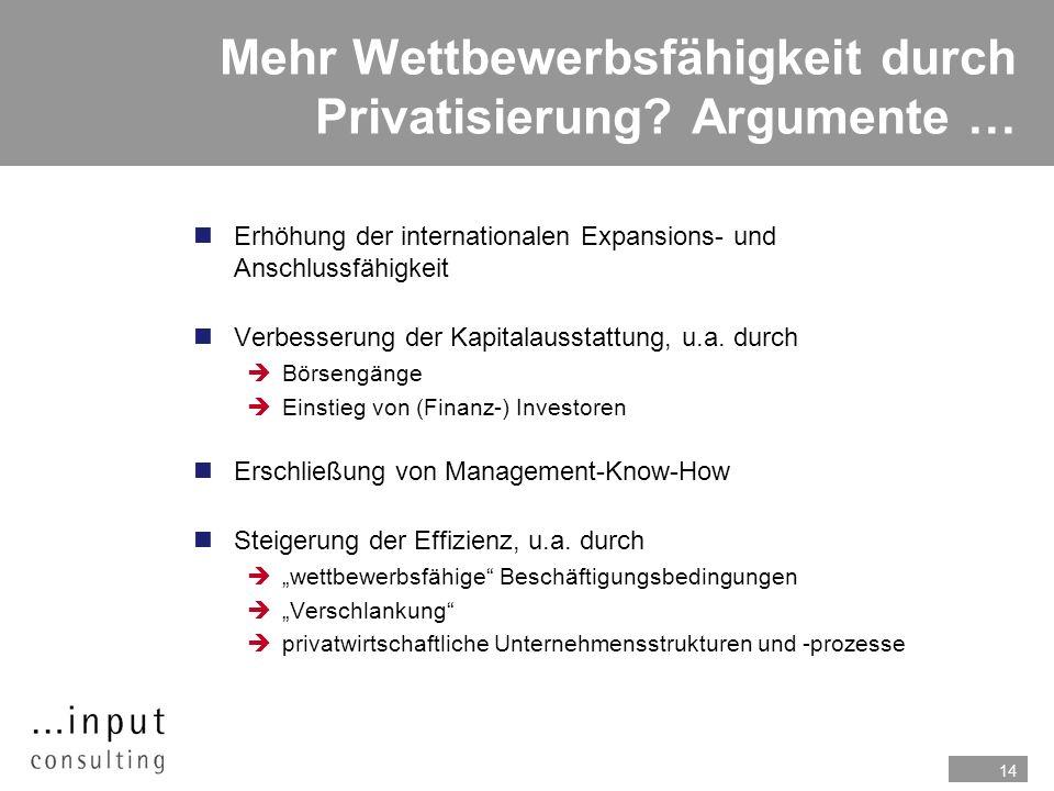 14 Mehr Wettbewerbsfähigkeit durch Privatisierung? Argumente … n Erhöhung der internationalen Expansions- und Anschlussfähigkeit nVerbesserung der Kap
