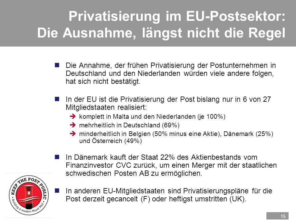 15 Privatisierung im EU-Postsektor: Die Ausnahme, längst nicht die Regel nDie Annahme, der frühen Privatisierung der Postunternehmen in Deutschland un