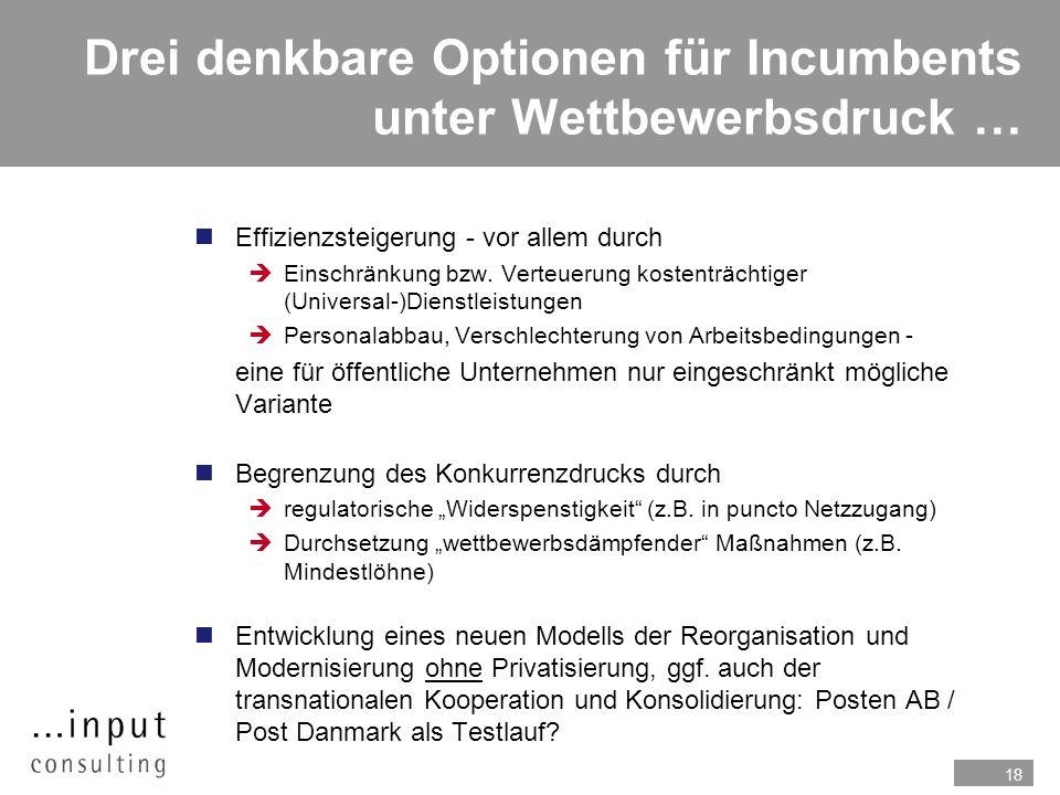18 Drei denkbare Optionen für Incumbents unter Wettbewerbsdruck … nEffizienzsteigerung - vor allem durch Einschränkung bzw. Verteuerung kostenträchtig