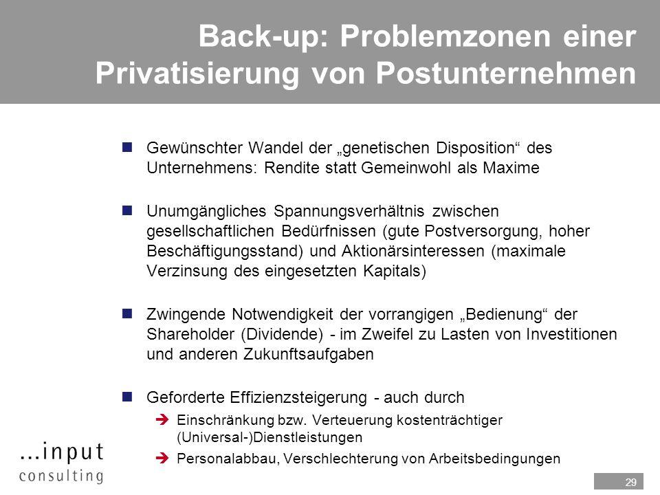 29 Back-up: Problemzonen einer Privatisierung von Postunternehmen nGewünschter Wandel der genetischen Disposition des Unternehmens: Rendite statt Geme