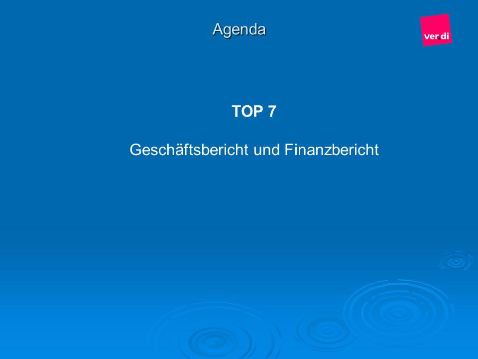 Agenda TOP 7 Geschäftsbericht und Finanzbericht