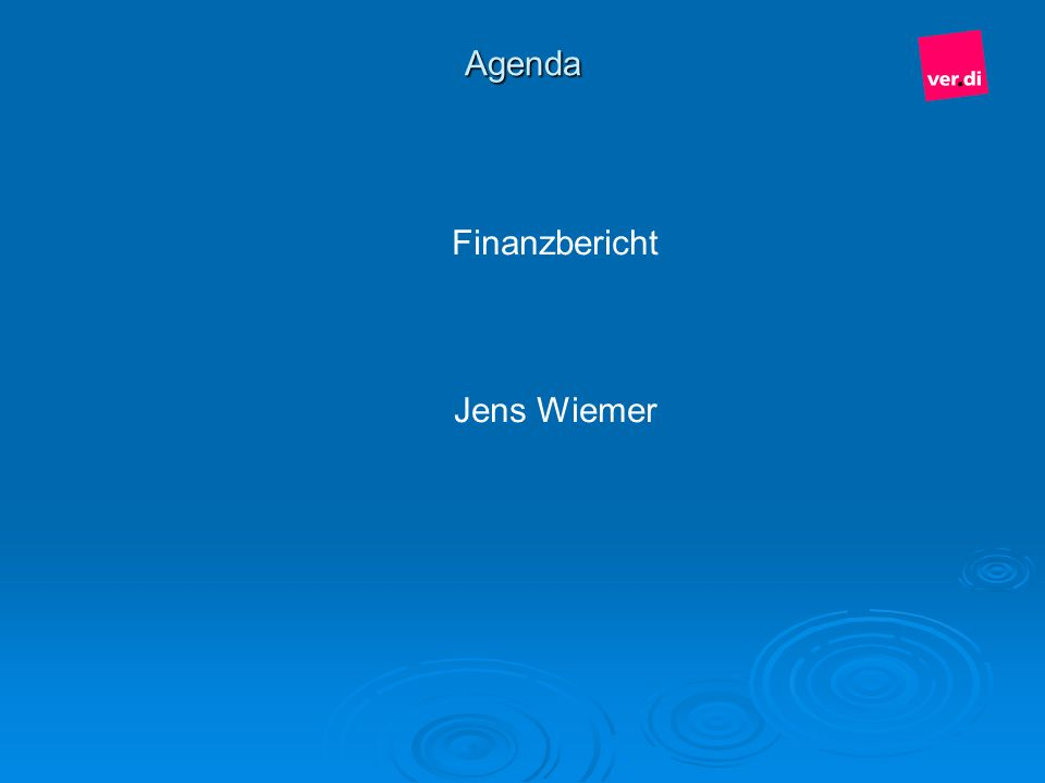 Agenda Finanzbericht Jens Wiemer