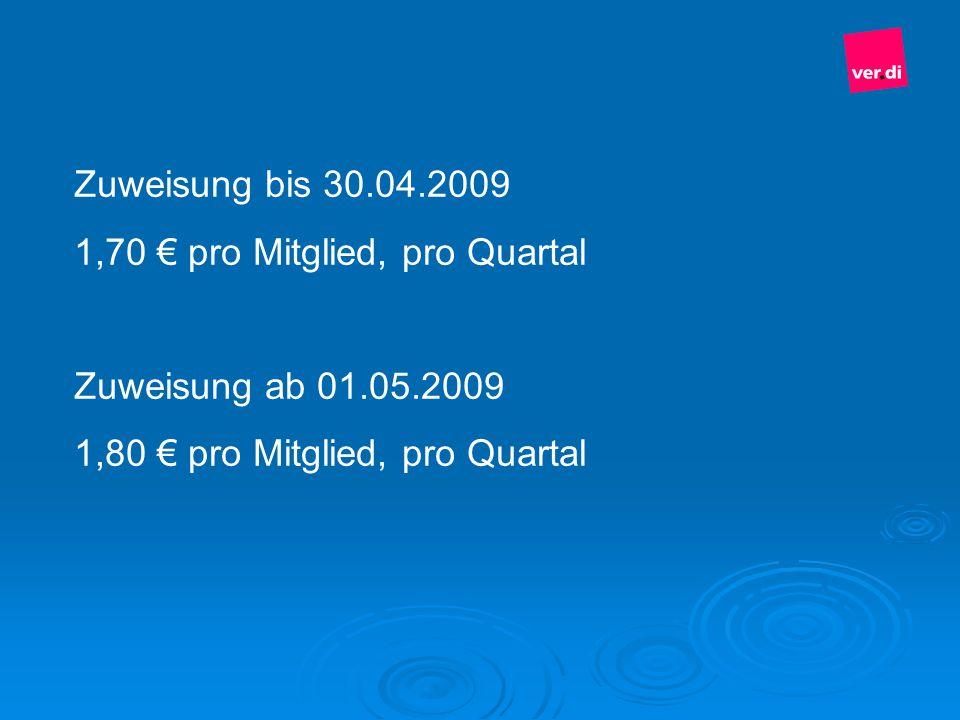 Zuweisung bis 30.04.2009 1,70 pro Mitglied, pro Quartal Zuweisung ab 01.05.2009 1,80 pro Mitglied, pro Quartal