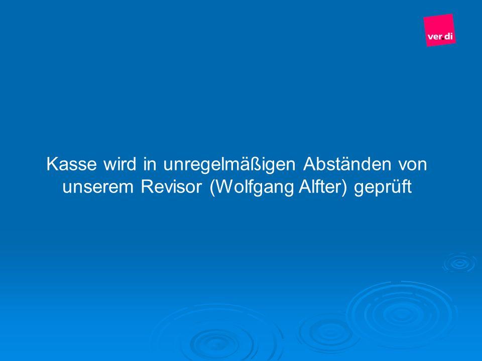 Kasse wird in unregelmäßigen Abständen von unserem Revisor (Wolfgang Alfter) geprüft