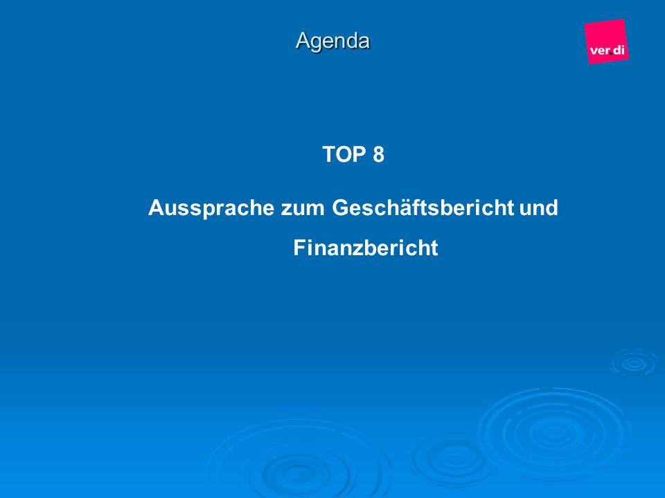 Agenda TOP 8 Aussprache zum Geschäftsbericht und Finanzbericht