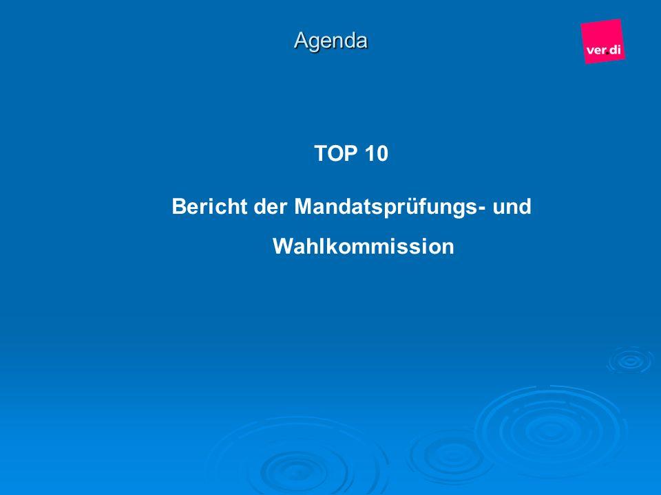 Agenda TOP 10 Bericht der Mandatsprüfungs- und Wahlkommission
