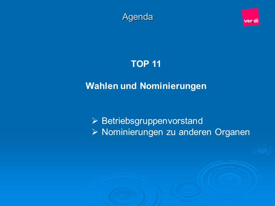 Agenda TOP 11 Wahlen und Nominierungen Betriebsgruppenvorstand Nominierungen zu anderen Organen