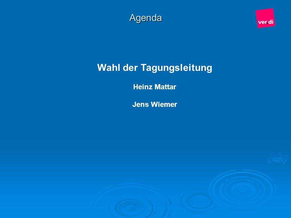 Agenda Wahl der Tagungsleitung Heinz Mattar Jens Wiemer