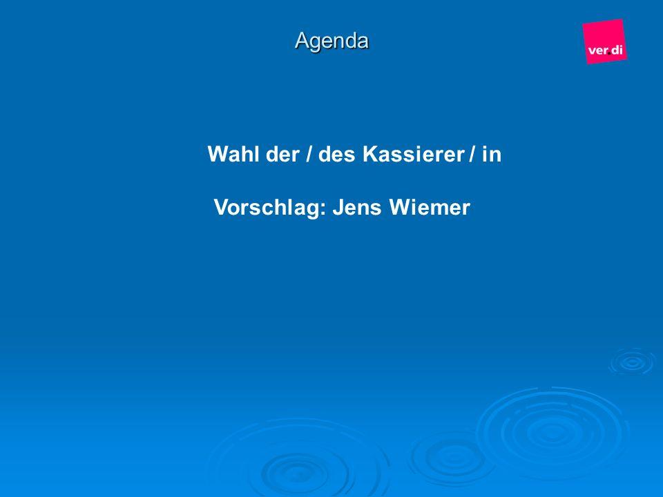 Agenda Wahl der / des Kassierer / in Vorschlag: Jens Wiemer