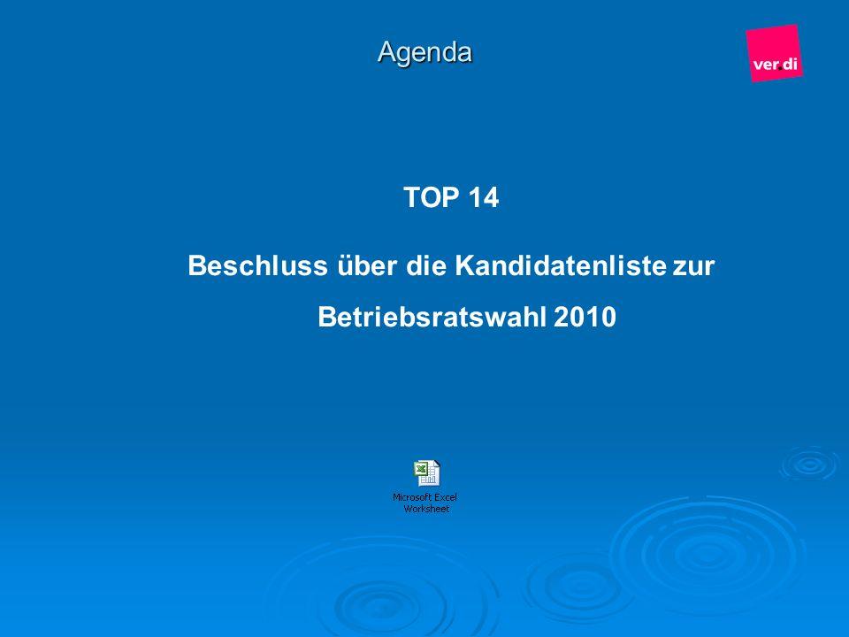 Agenda TOP 14 Beschluss über die Kandidatenliste zur Betriebsratswahl 2010
