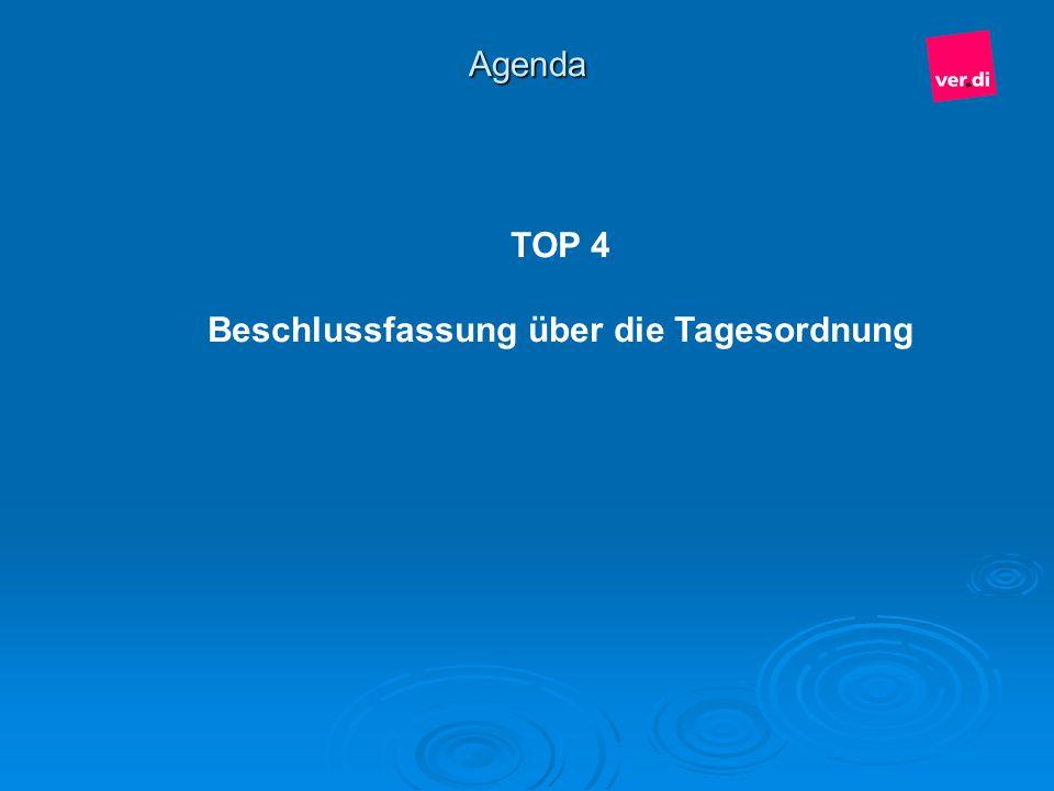 Agenda TOP 4 Beschlussfassung über die Tagesordnung