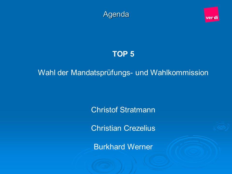 Agenda TOP 5 Wahl der Mandatsprüfungs- und Wahlkommission Christof Stratmann Christian Crezelius Burkhard Werner