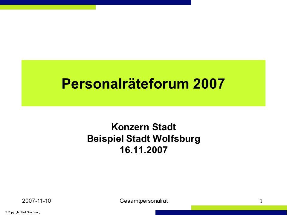 2007-11-10Gesamtpersonalrat1 Personalräteforum 2007 Konzern Stadt Beispiel Stadt Wolfsburg 16.11.2007