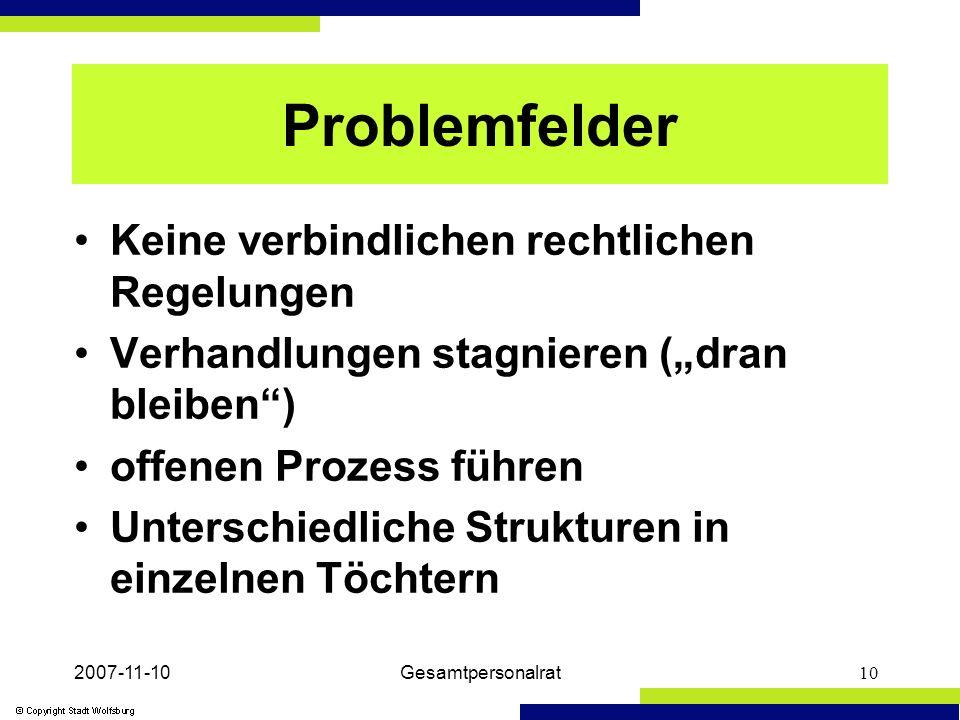 2007-11-10Gesamtpersonalrat10 Problemfelder Keine verbindlichen rechtlichen Regelungen Verhandlungen stagnieren (dran bleiben) offenen Prozess führen Unterschiedliche Strukturen in einzelnen Töchtern