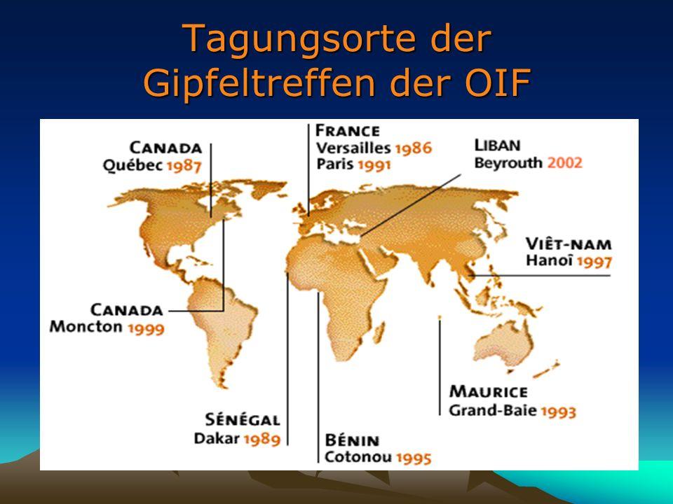 Tagungsorte der Gipfeltreffen der OIF