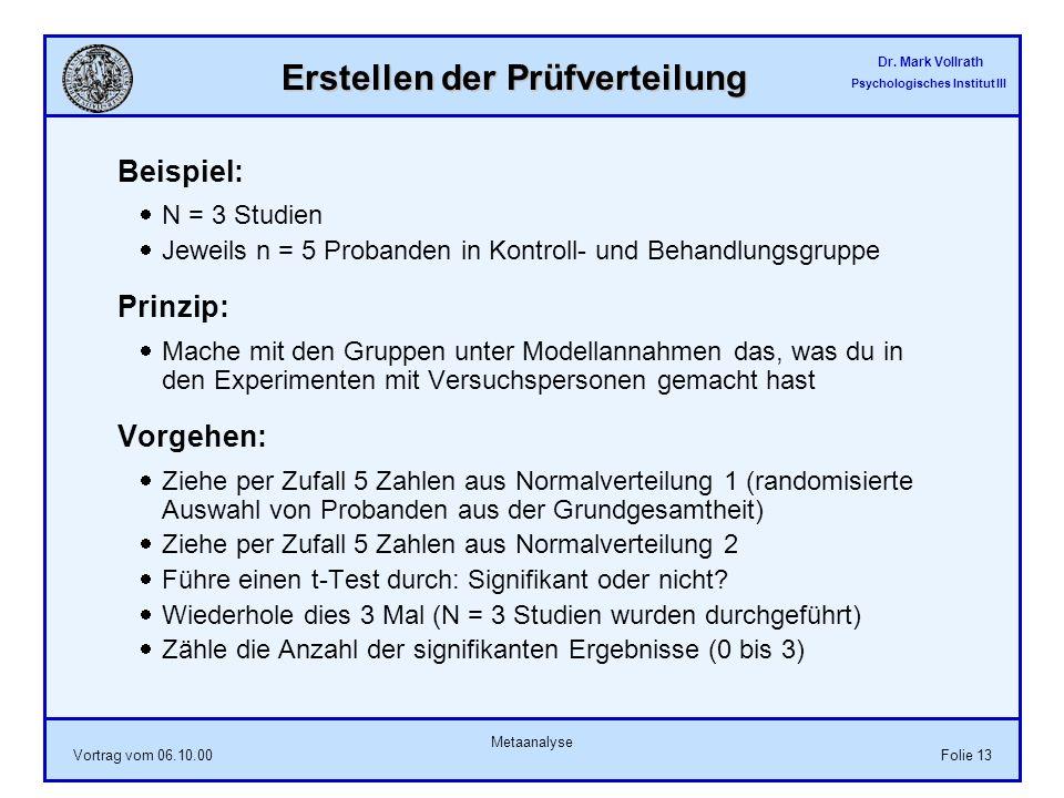 Dr. Mark Vollrath Psychologisches Institut III Vortrag vom 06.10.00 Metaanalyse Folie 13 Erstellen der Prüfverteilung Beispiel: N = 3 Studien Jeweils