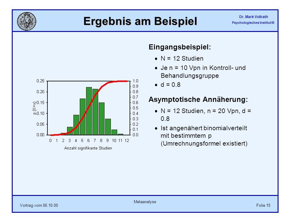 Dr. Mark Vollrath Psychologisches Institut III Vortrag vom 06.10.00 Metaanalyse Folie 15 Ergebnis am Beispiel Eingangsbeispiel: N = 12 Studien Je n =