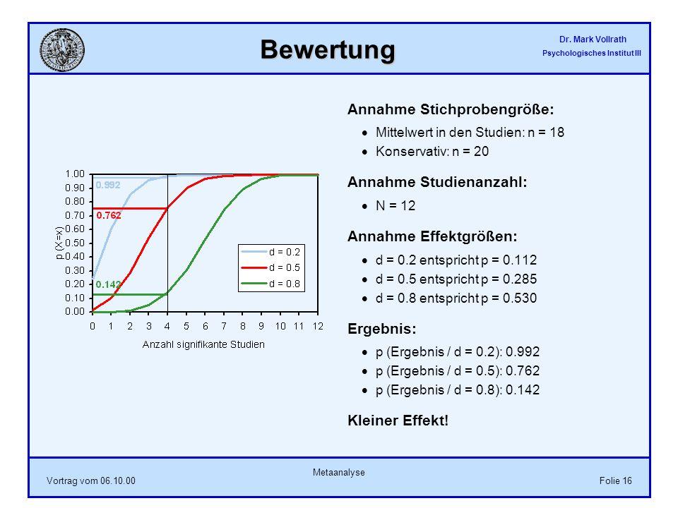 Dr. Mark Vollrath Psychologisches Institut III Vortrag vom 06.10.00 Metaanalyse Folie 16 Bewertung Annahme Stichprobengröße: Mittelwert in den Studien