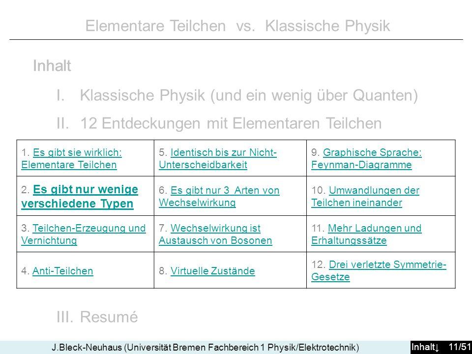 Inhalt 11/51 J.Bleck-Neuhaus (Universität Bremen Fachbereich 1 Physik/Elektrotechnik) Elementare Teilchen vs. Klassische Physik I.Klassische Physik (u