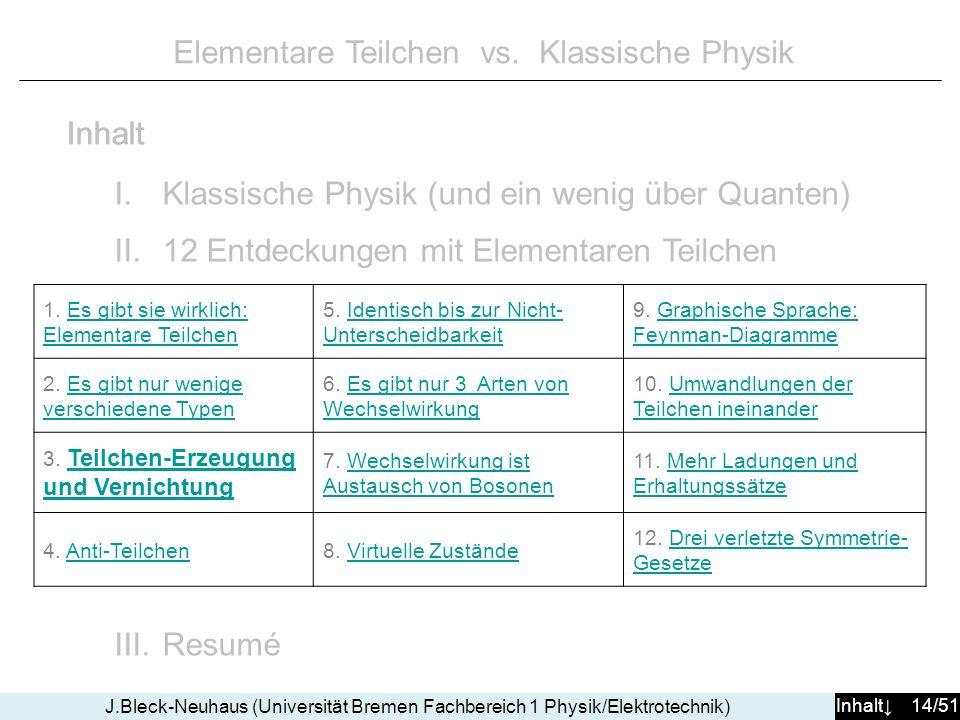 Inhalt 14/51 J.Bleck-Neuhaus (Universität Bremen Fachbereich 1 Physik/Elektrotechnik) Elementare Teilchen vs. Klassische Physik I.Klassische Physik (u