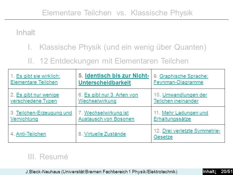 Inhalt 20/51 J.Bleck-Neuhaus (Universität Bremen Fachbereich 1 Physik/Elektrotechnik) Elementare Teilchen vs. Klassische Physik I.Klassische Physik (u