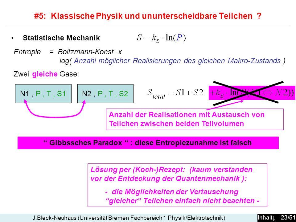 Inhalt 23/51 J.Bleck-Neuhaus (Universität Bremen Fachbereich 1 Physik/Elektrotechnik) Statistische Mechanik Entropie = Boltzmann-Konst. x log( Anzahl