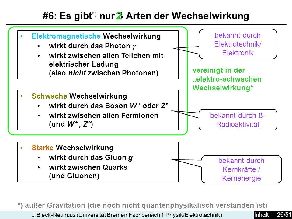 Inhalt 26/51 J.Bleck-Neuhaus (Universität Bremen Fachbereich 1 Physik/Elektrotechnik) Starke Wechselwirkung wirkt durch das Gluon g wirkt zwischen Qua