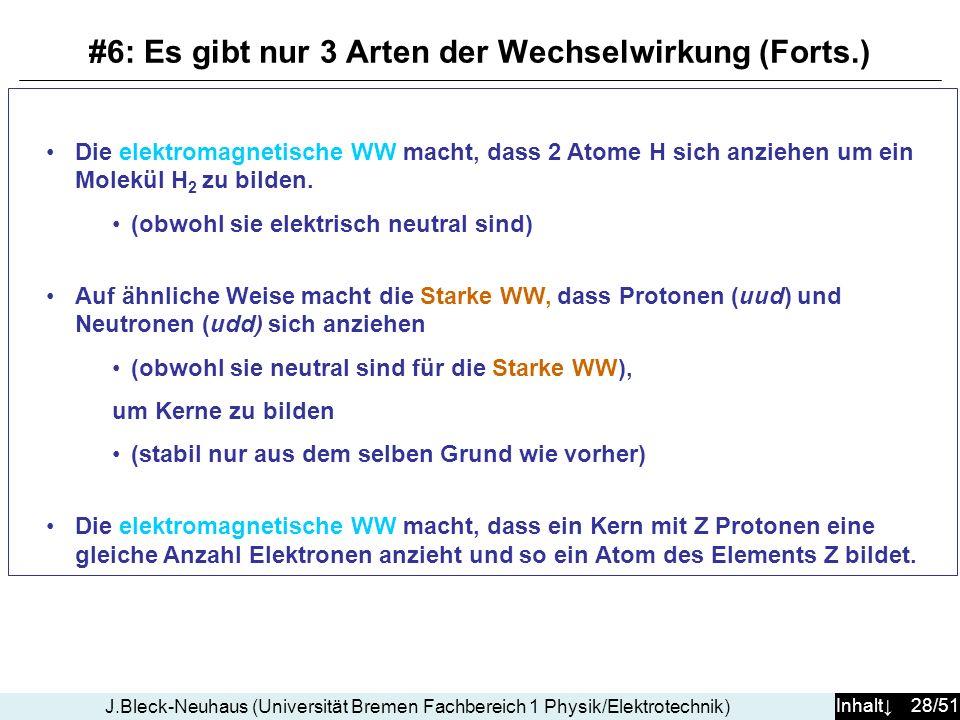 Inhalt 28/51 J.Bleck-Neuhaus (Universität Bremen Fachbereich 1 Physik/Elektrotechnik) Die elektromagnetische WW macht, dass 2 Atome H sich anziehen um