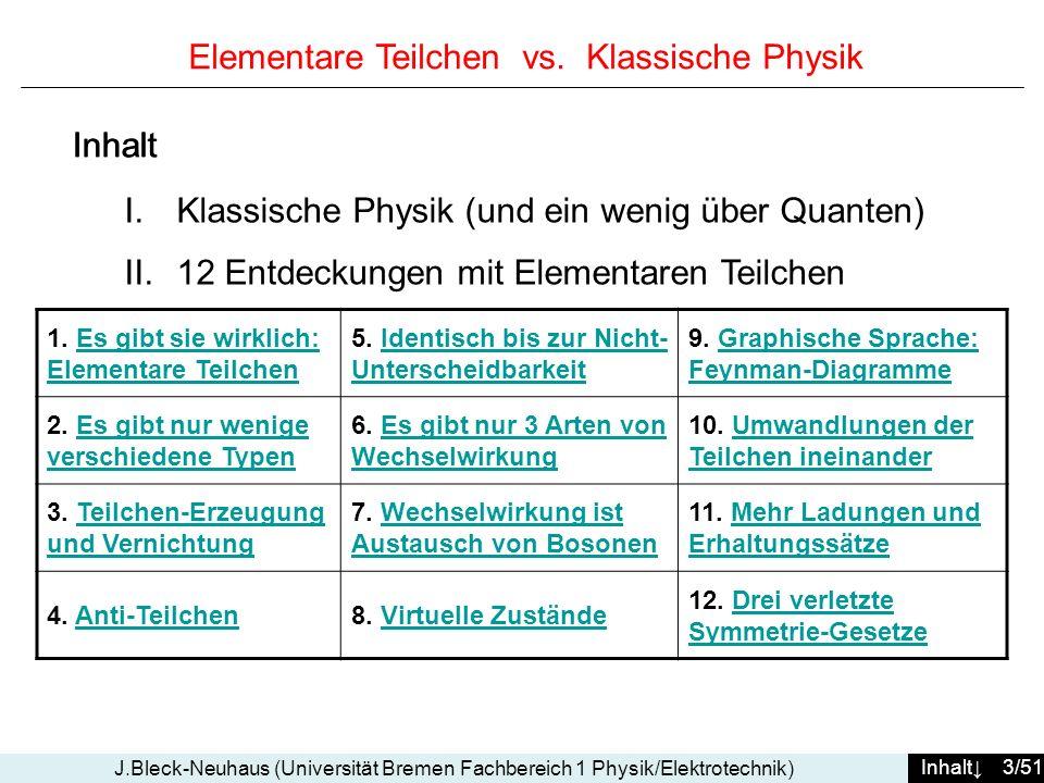 Inhalt 3/51 J.Bleck-Neuhaus (Universität Bremen Fachbereich 1 Physik/Elektrotechnik) Elementare Teilchen vs. Klassische Physik I.Klassische Physik (un