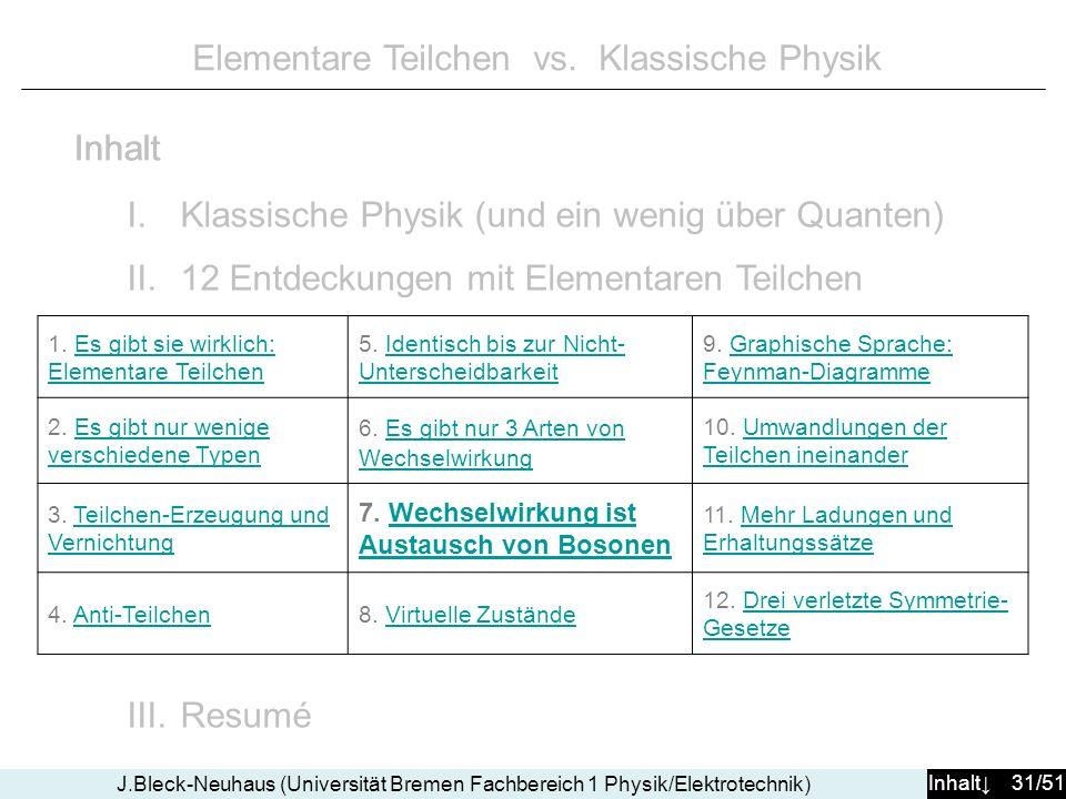 Inhalt 31/51 J.Bleck-Neuhaus (Universität Bremen Fachbereich 1 Physik/Elektrotechnik) Elementare Teilchen vs. Klassische Physik I.Klassische Physik (u