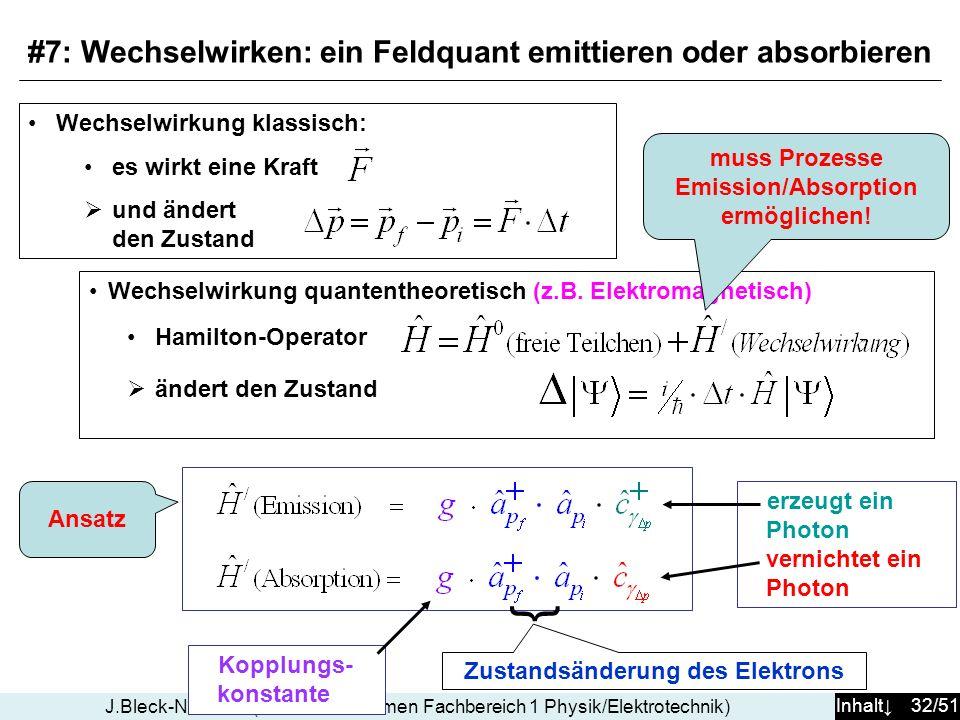 Inhalt 32/51 J.Bleck-Neuhaus (Universität Bremen Fachbereich 1 Physik/Elektrotechnik) Wechselwirkung quantentheoretisch (z.B. Elektromagnetisch) Hamil