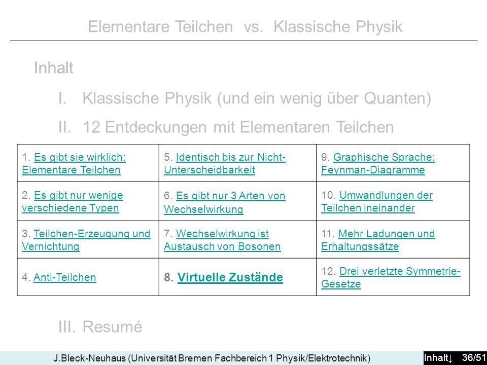 Inhalt 36/51 J.Bleck-Neuhaus (Universität Bremen Fachbereich 1 Physik/Elektrotechnik) Elementare Teilchen vs. Klassische Physik I.Klassische Physik (u