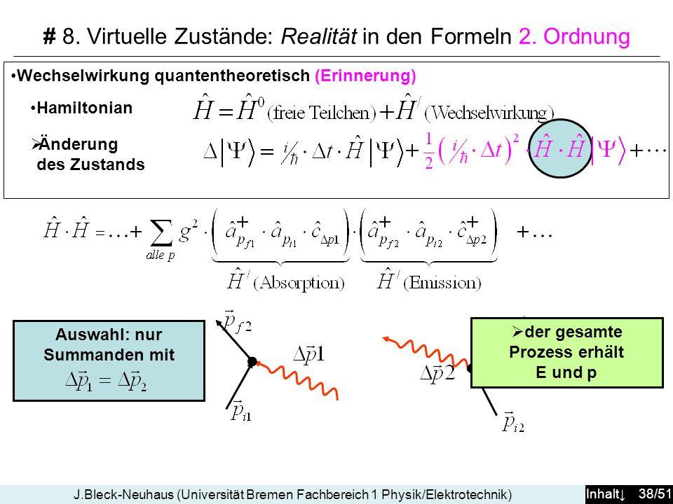 Inhalt 38/51 J.Bleck-Neuhaus (Universität Bremen Fachbereich 1 Physik/Elektrotechnik) Wechselwirkung quantentheoretisch (Erinnerung) Hamiltonian Änder