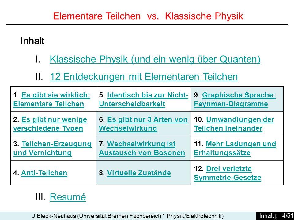 Inhalt 4/51 J.Bleck-Neuhaus (Universität Bremen Fachbereich 1 Physik/Elektrotechnik) Elementare Teilchen vs. Klassische Physik I.Klassische Physik (un