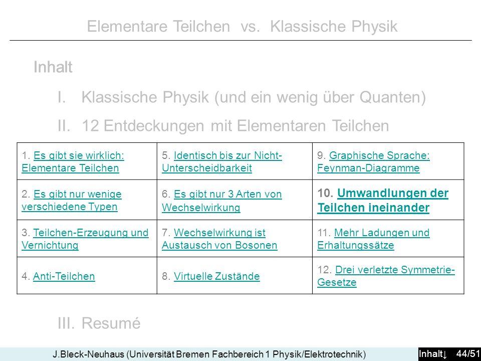 Inhalt 44/51 J.Bleck-Neuhaus (Universität Bremen Fachbereich 1 Physik/Elektrotechnik) Elementare Teilchen vs. Klassische Physik I.Klassische Physik (u