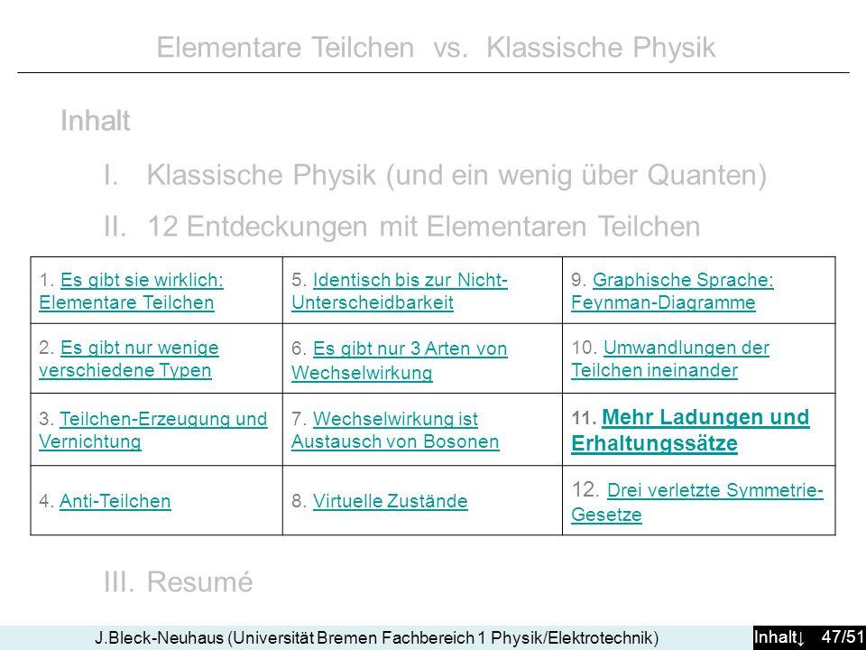 Inhalt 47/51 J.Bleck-Neuhaus (Universität Bremen Fachbereich 1 Physik/Elektrotechnik) Elementare Teilchen vs. Klassische Physik I.Klassische Physik (u