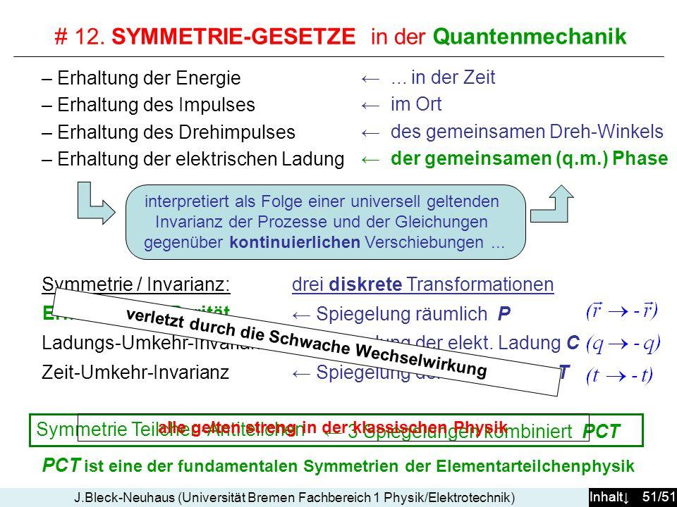 Inhalt 51/51 J.Bleck-Neuhaus (Universität Bremen Fachbereich 1 Physik/Elektrotechnik) # 12. SYMMETRIE-GESETZE in der klassischen Physik... in der Zeit