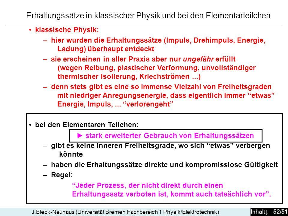Inhalt 52/51 J.Bleck-Neuhaus (Universität Bremen Fachbereich 1 Physik/Elektrotechnik) Erhaltungssätze in klassischer Physik und bei den Elementarteilc