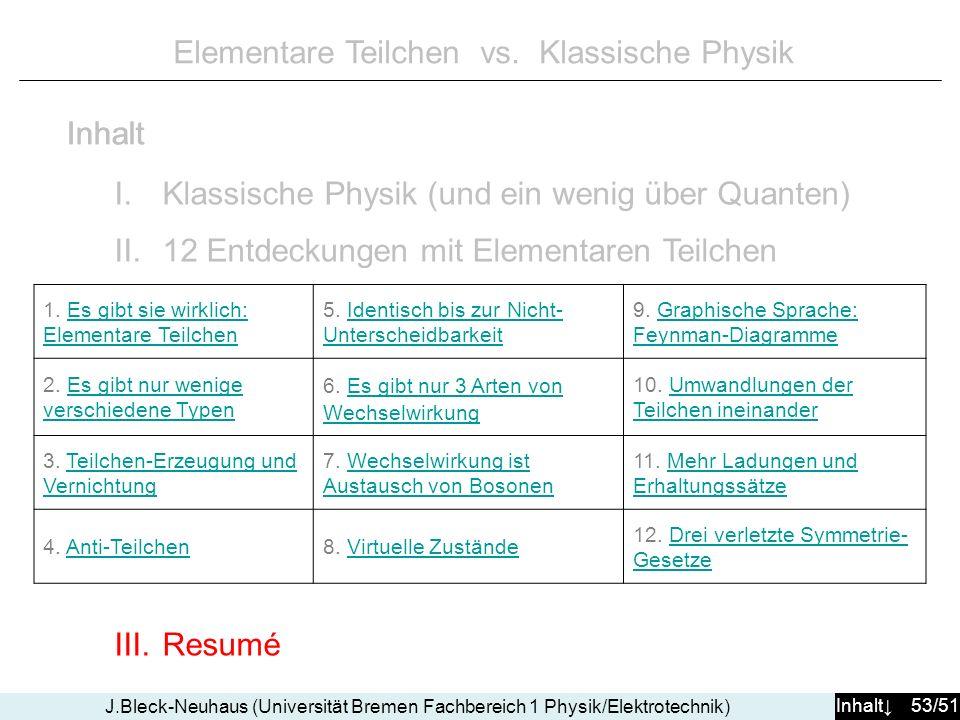 Inhalt 53/51 J.Bleck-Neuhaus (Universität Bremen Fachbereich 1 Physik/Elektrotechnik) Elementare Teilchen vs. Klassische Physik I.Klassische Physik (u