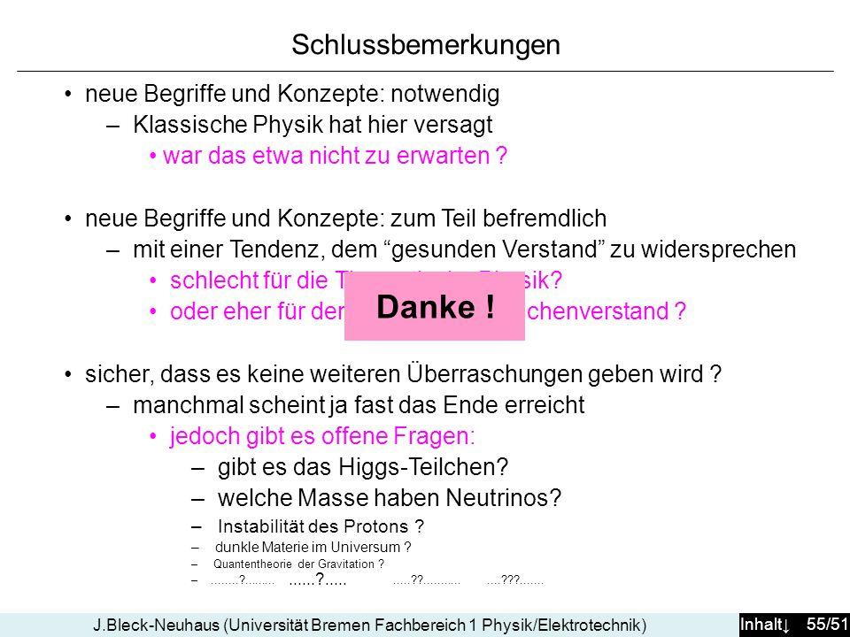 Inhalt 55/51 J.Bleck-Neuhaus (Universität Bremen Fachbereich 1 Physik/Elektrotechnik) Schlussbemerkungen......?..........??...............???....... n