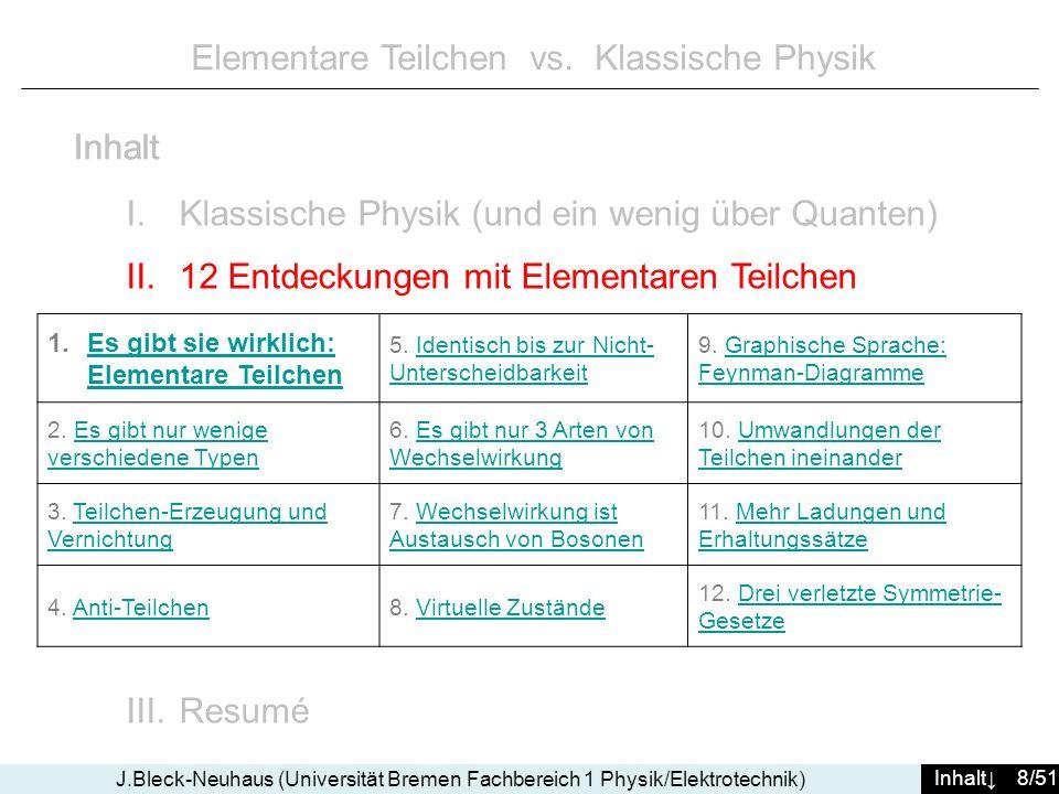 Inhalt 39/51 J.Bleck-Neuhaus (Universität Bremen Fachbereich 1 Physik/Elektrotechnik) hinein: 2 reale Elektronen mit Impulsen p i1 und p i2 heraus: 2 reale Elektronen mit Impulsen p f1 und p f2 Elektron p i2 gibt den Impuls Δp ab und ändert seine Energie entsprechend um +ΔE Elektron p i1 erhält den Impuls Δp und ändert seine Energie entsprechend: ΔE reale Welt vor dem Prozess reale Welt danach das Photon: erscheint weder vorher noch nachher, lediglich im Diagramm (bzw.