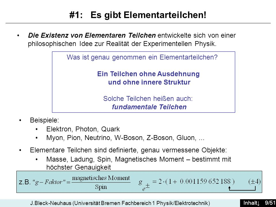 Inhalt 9/51 J.Bleck-Neuhaus (Universität Bremen Fachbereich 1 Physik/Elektrotechnik) Die Existenz von Elementaren Teilchen entwickelte sich von einer