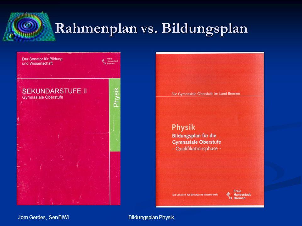 Rahmenplan vs. Bildungsplan Jörn Gerdes, SenBiWi Bildungsplan Physik Orientierung an Inhalten